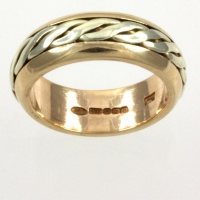 9ct gold 2-tone Cymru Gold Band Ring size I